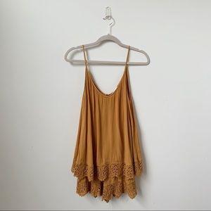 H&M Marigold Yellow Open Back Crochet Trim Romper